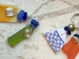 Drilled Sea Glass Necklace and Keychain