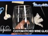 Acid Etched Wine Glasses