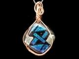 E-06-18 & 25 Dichroic Glass Fusing and Copper Wire Art