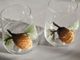 Painted Pine Cones Glassware