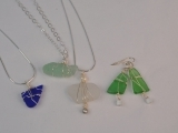 Wire Bound Sea Glass Necklace and Earrings