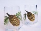 Painted Pine Cone Glassware