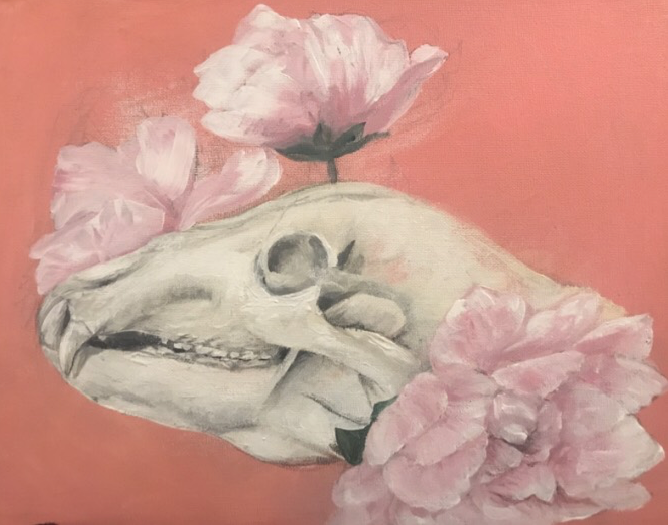 Skulls and Flowers: Acrylic Painting