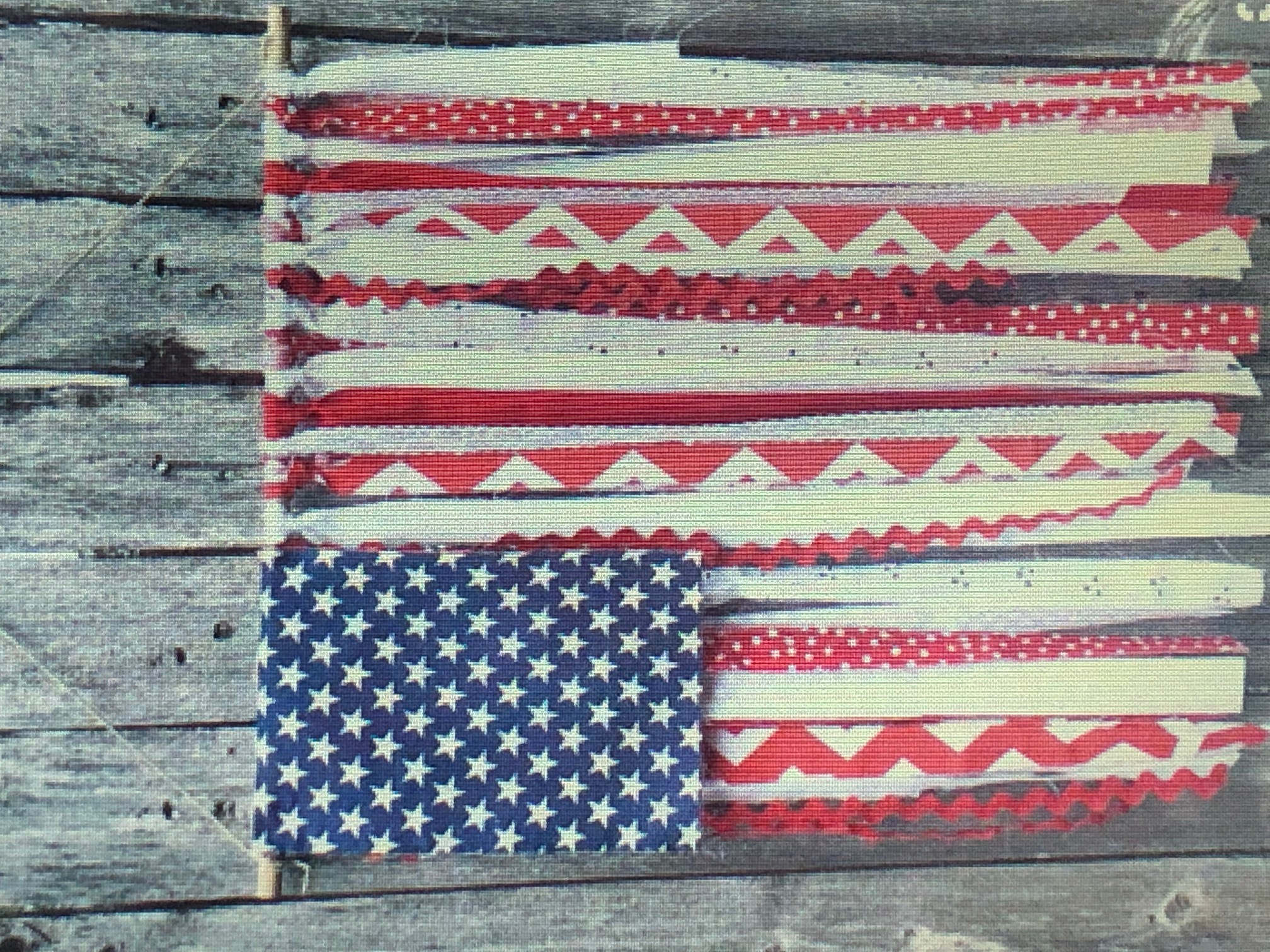 FABRIC TIED AMERICAN FLAG