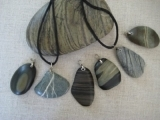 Drilled Beach Stone Necklace and Key Ring
