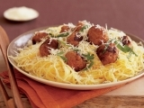 Spaghetti Squash with Garlic, Parmesean and Meatballs