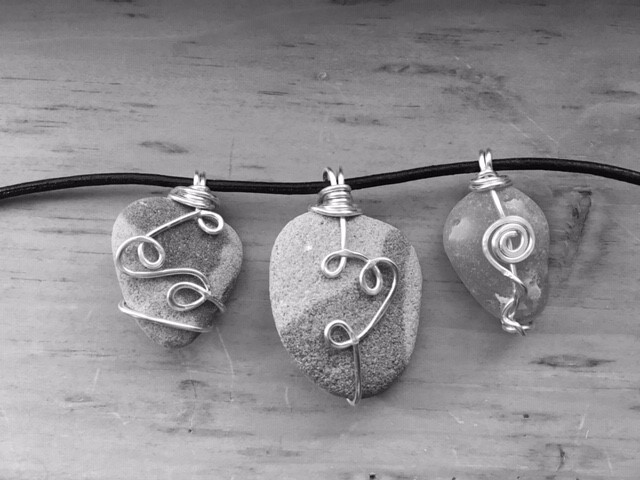Wire-Wrapped Beach Stone Pendant 6/4