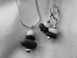 Forged Silver and Stone Pendant and Earring