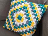 Crocheted Granny Square Pillow