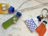 Drilled Sea Glass Necklace & Keychain
