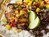 Jerk Chicken with Spicy Mango Slaw and Coconut Beans and Rice