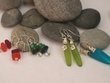 Wire Wrapped Sea Glass Earrings