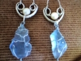 Sea Glass Wire Wrapped Sterling Silver Earrings