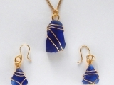 Wire Bound Sea Glass- Necklace & Earrings