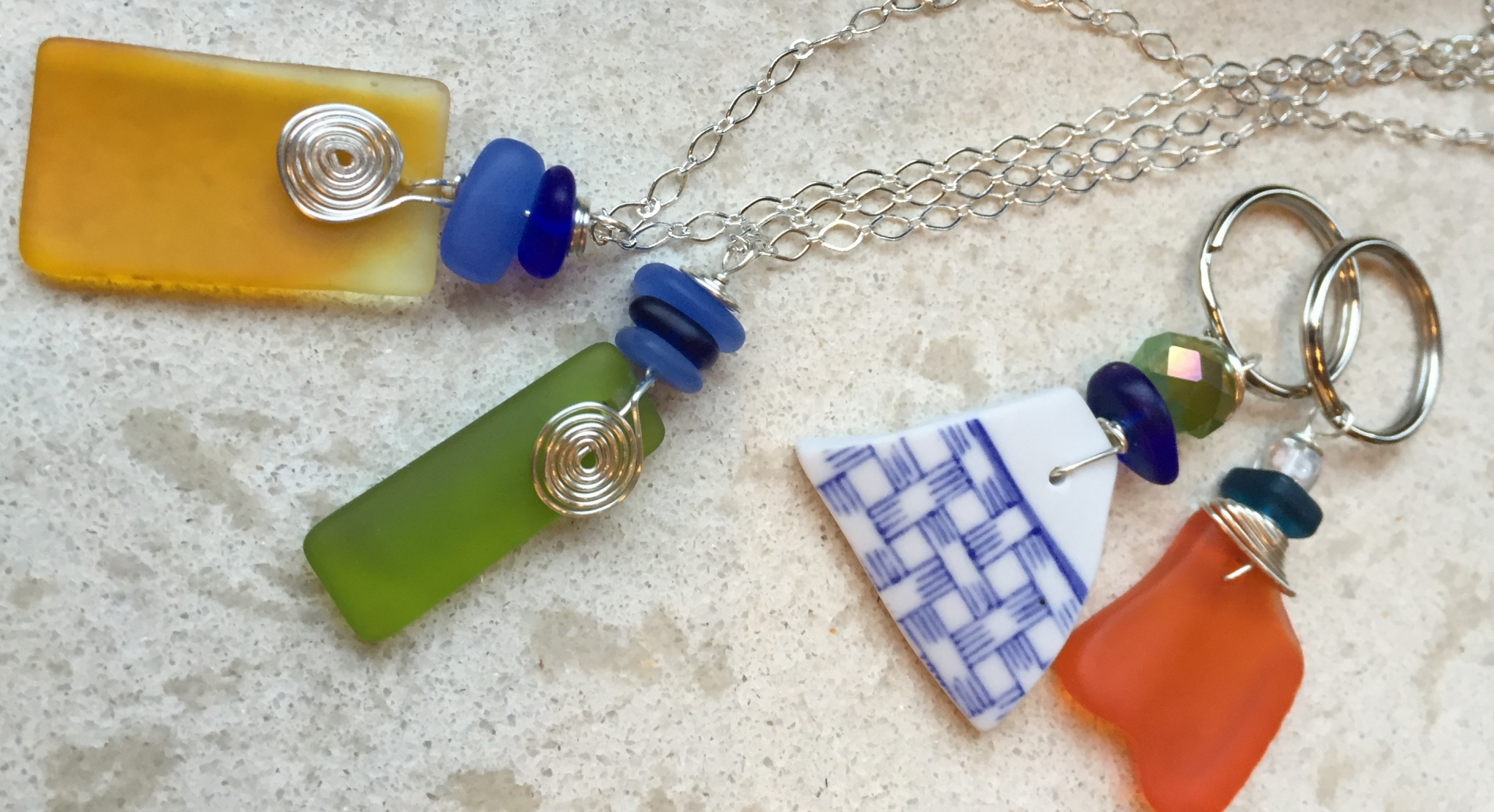 Art Night Out - Drilled Sea Glass Necklace & Key Chain, Session II
