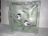 Chickadee Painted Glass Bottle or Block