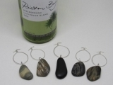 Drilled Beach Stone: Wine Glass Charms