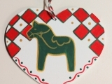 Scandinavian Heart Dala Horse Ornament: Live Online