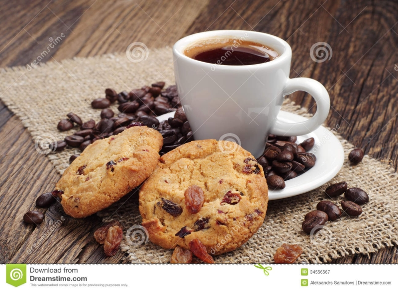 Original source: http://thumbs.dreamstime.com/z/cup-coffee-cookies-raisins-beans-coarse-fabric-34556567.jpg