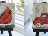 Mini Paintings: Cardinal and Holiday Truck