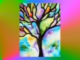 """E-04-17 Watercolor painting """" Stained Glass"""""""