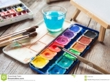 Original source: http://thumbs.dreamstime.com/z/set-watercolor-paints-art-brushes-glass-water-easel-painting-old-wooden-table-47541542.jpg