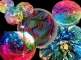 """EW-08-20 Resin & Alcohol Inks coasters """"Bursts of Colors"""""""