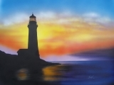 WATERCOLOR: LIGHTHOUSE AT SUNSET