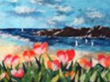 309S18 Seashore Oriental Torn Cotton Paper Art