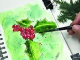 Painted Watercolor Holly Berries ONLINE