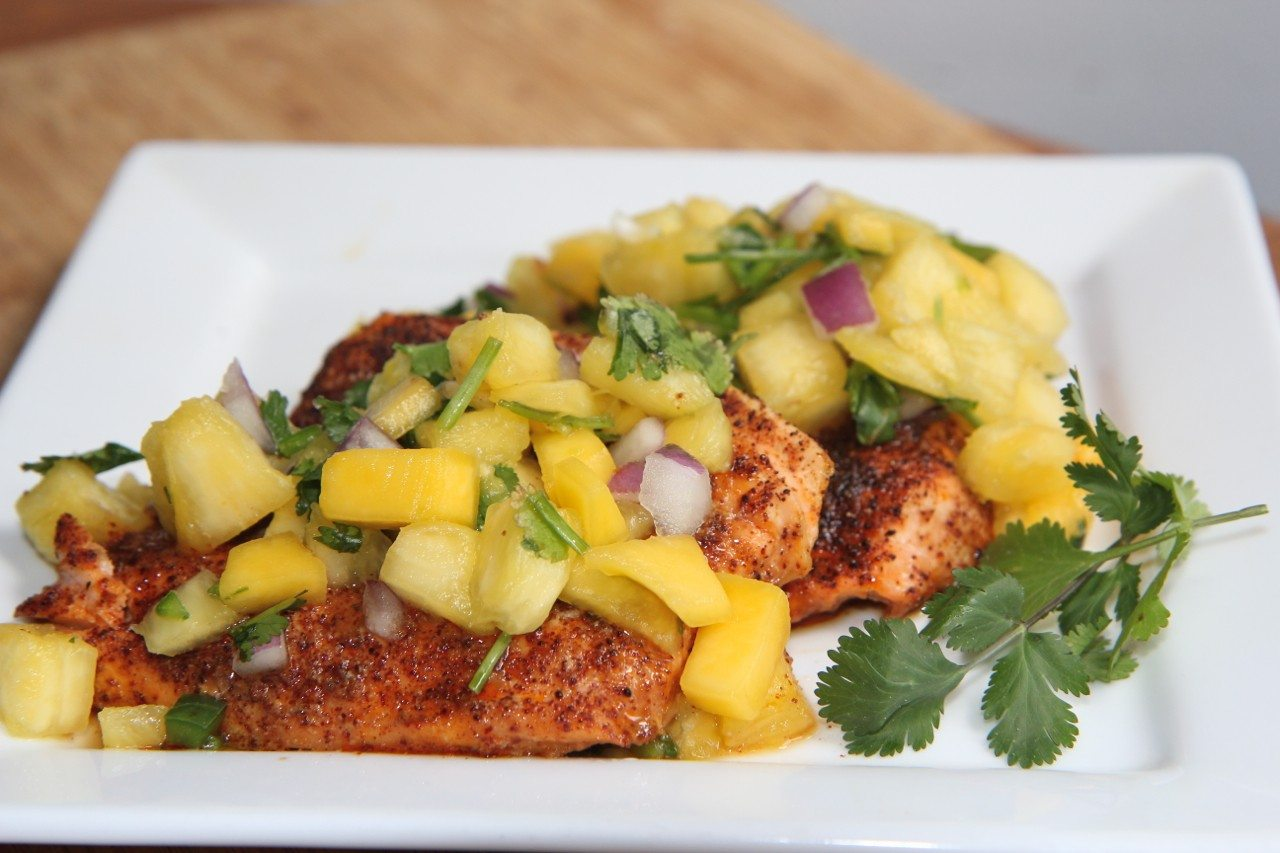 Gluten Free - Maple Glazed Salmon with Homemade Pineapple Salsa